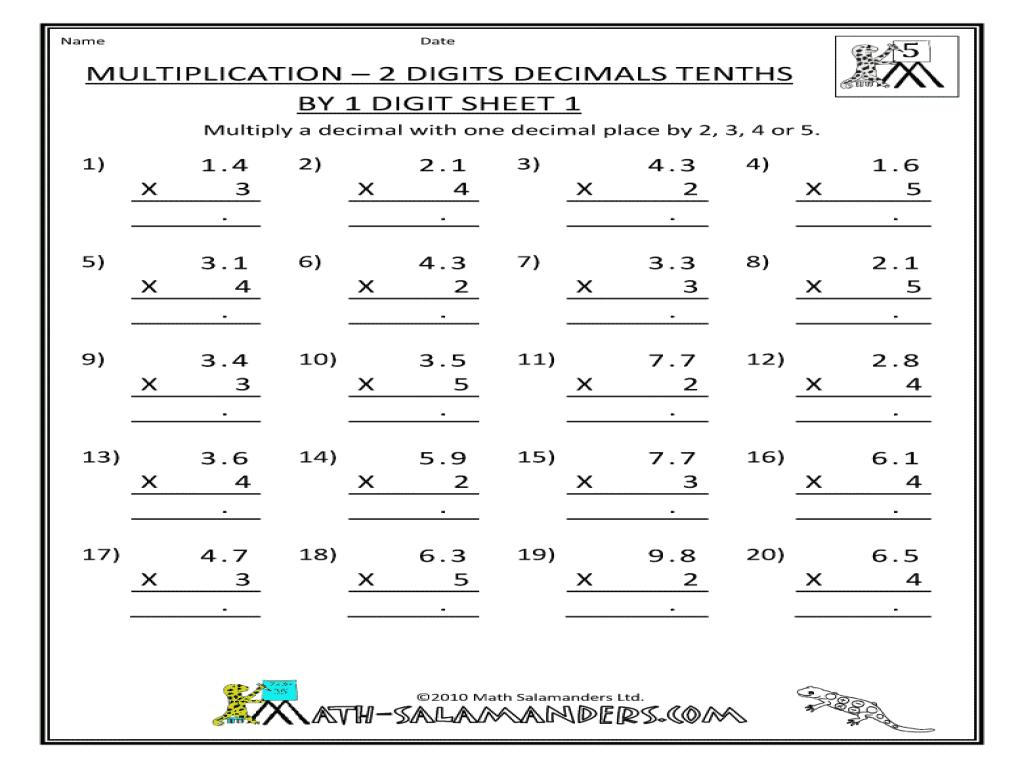 Free Multiplication Worksheets Two Digit By One Digit