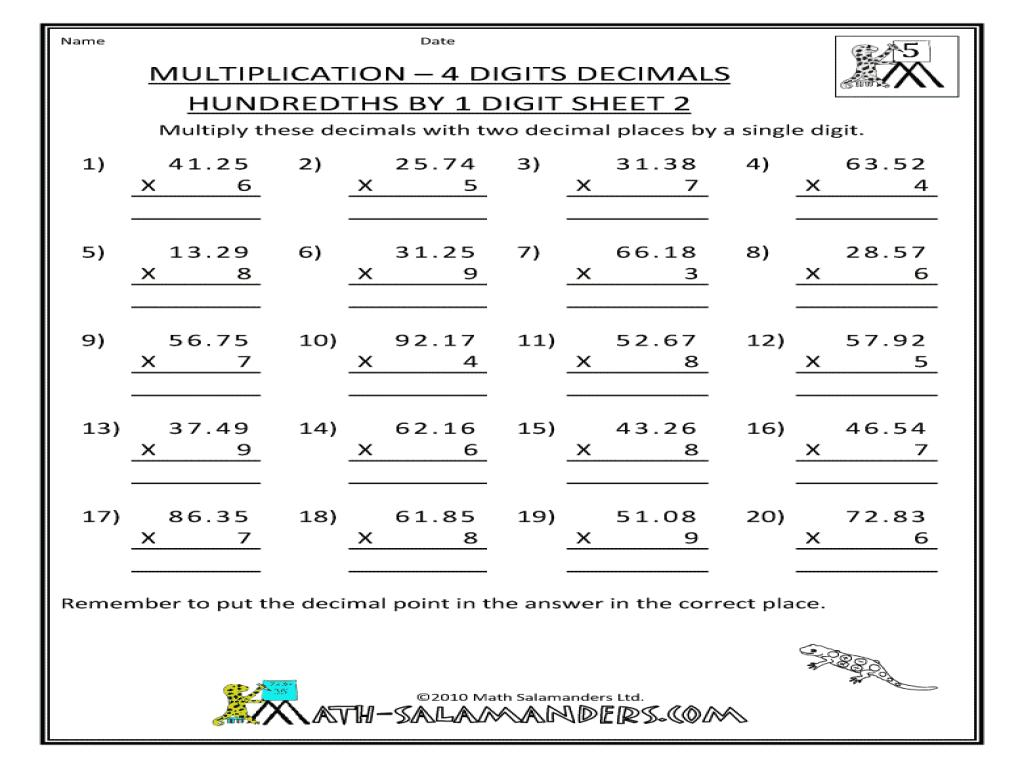 Long Multiplication Worksheets With Decimals