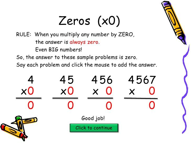Multiplication With Zeros Worksheet