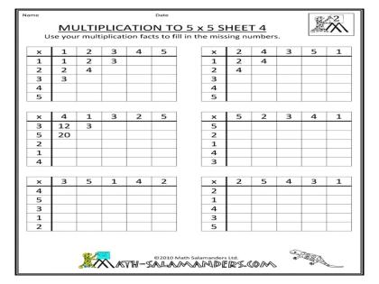 Multiplication Worksheets Up To 5x5