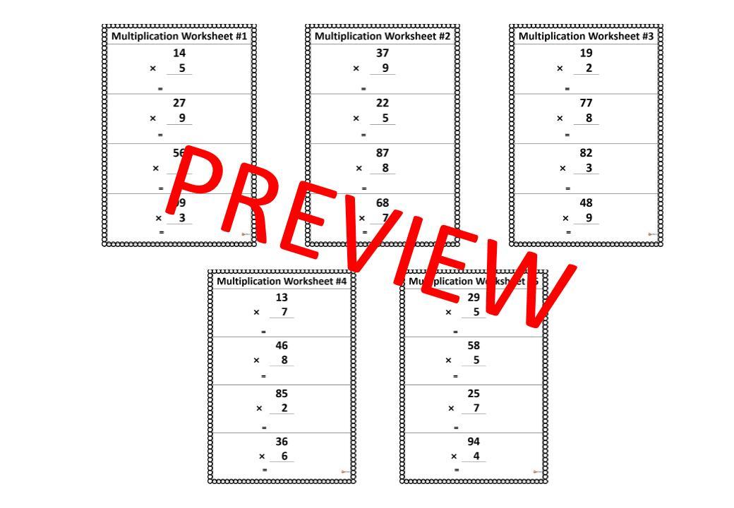 Multiplication Worksheets X1 2