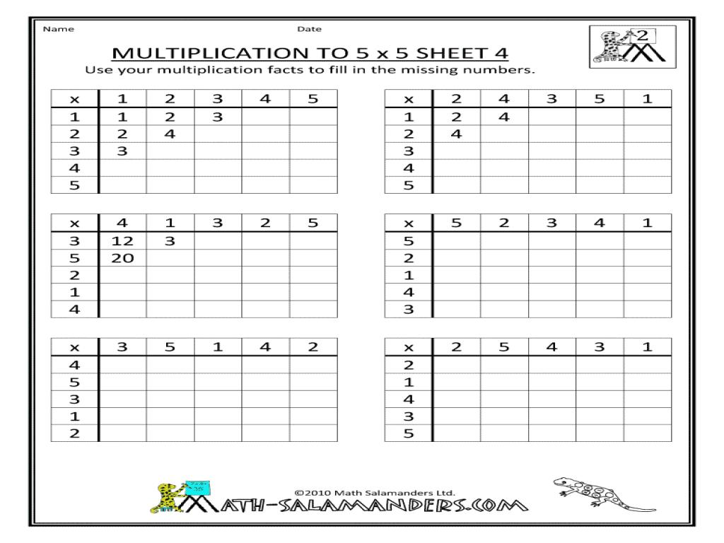 Multiplication Worksheets X5 1