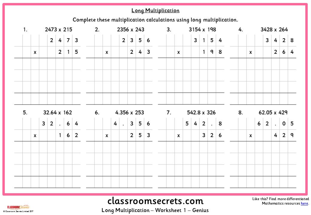 Multiplication Worksheets Year 5 Pdf