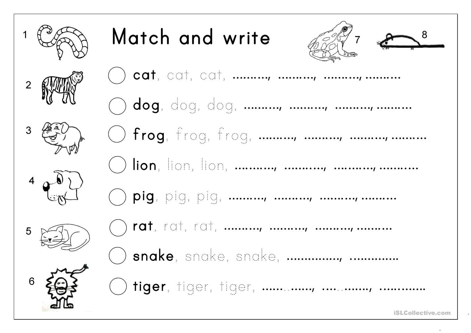 Preschool English Worksheets Free Download