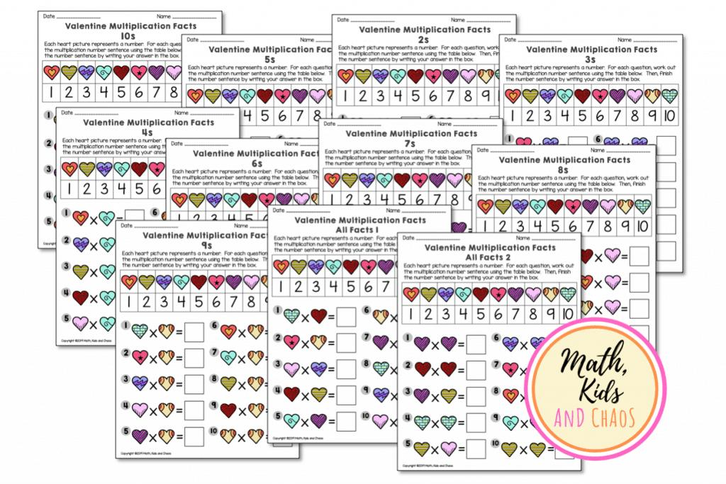 Valentine Multiplication Worksheets Grade 3