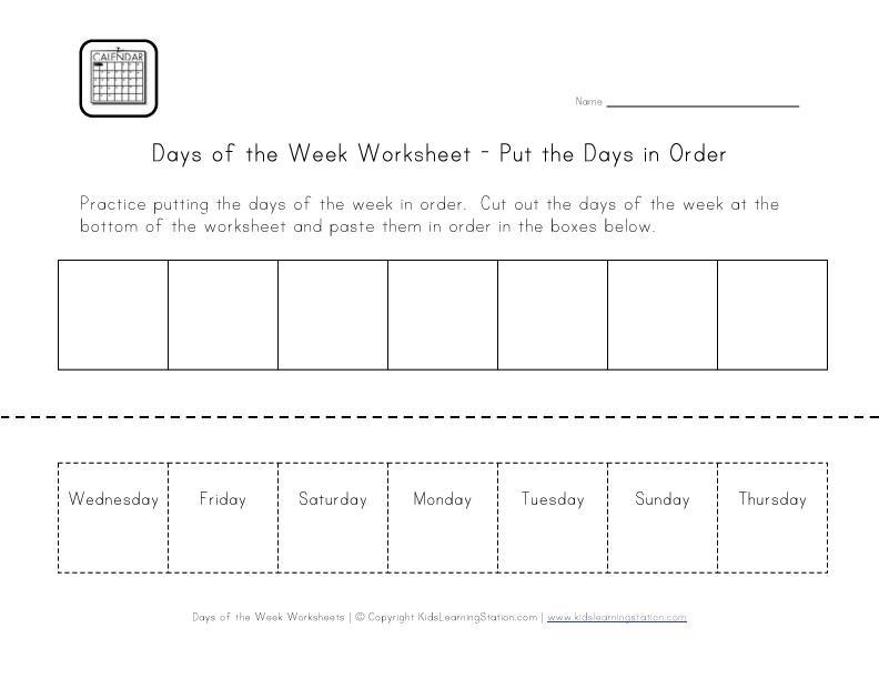Free Printable Days Of The Week Worksheets For Preschool