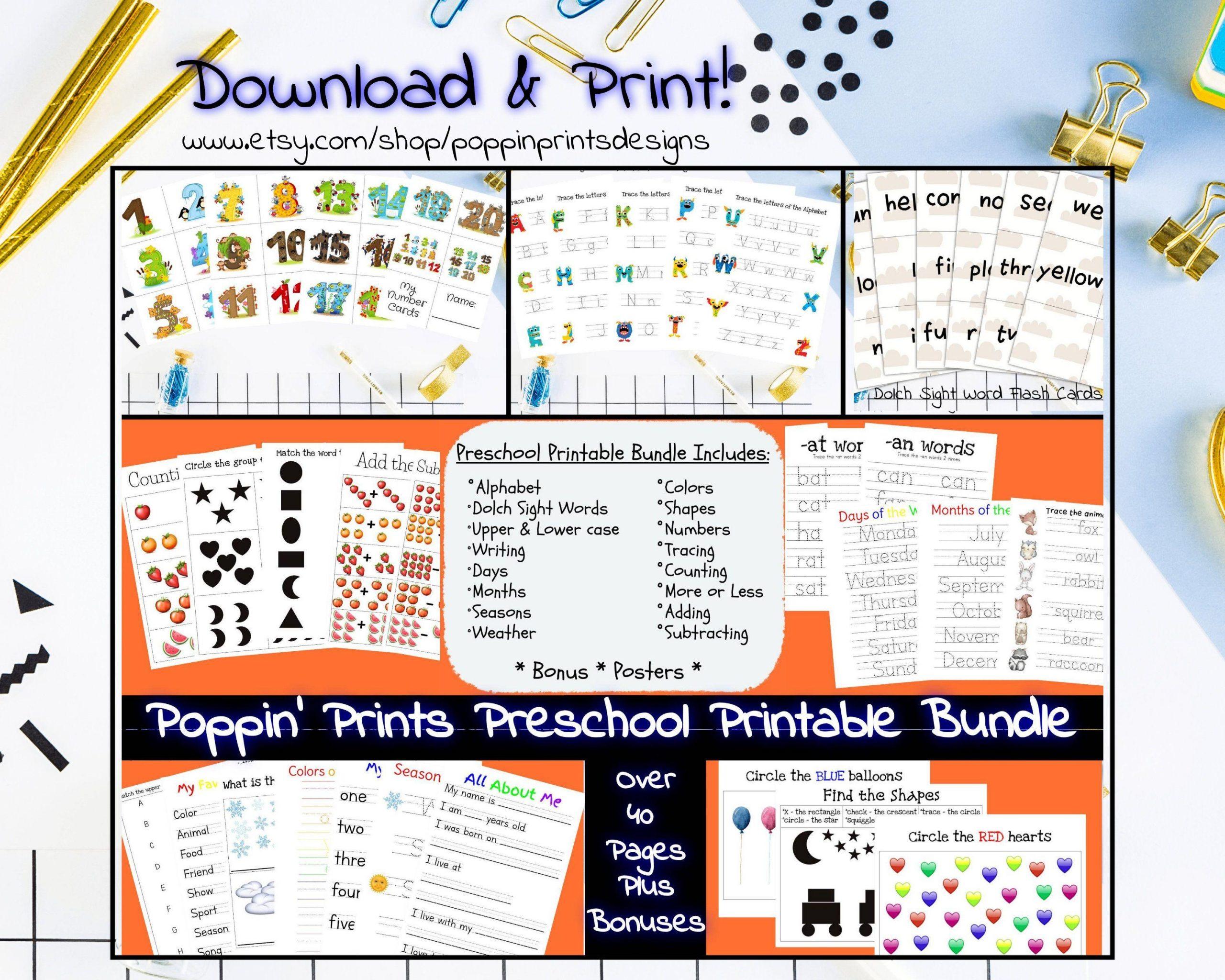 Preschool Worksheets Bundle 4