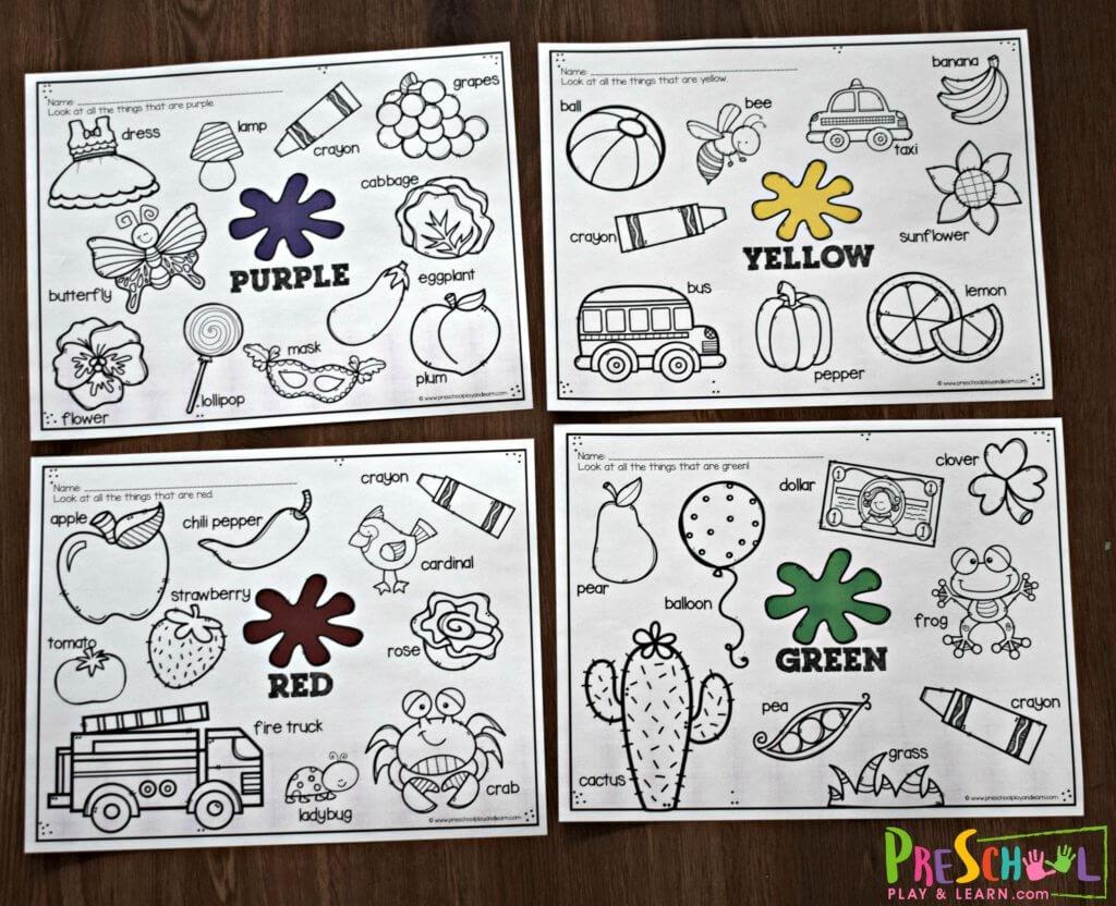 Preschool Worksheets For Colors