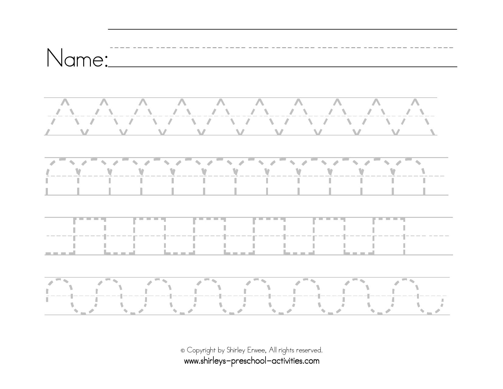 Preschool Worksheets Handwriting 1