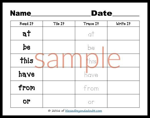Dolch Sight Words Preschool Worksheets