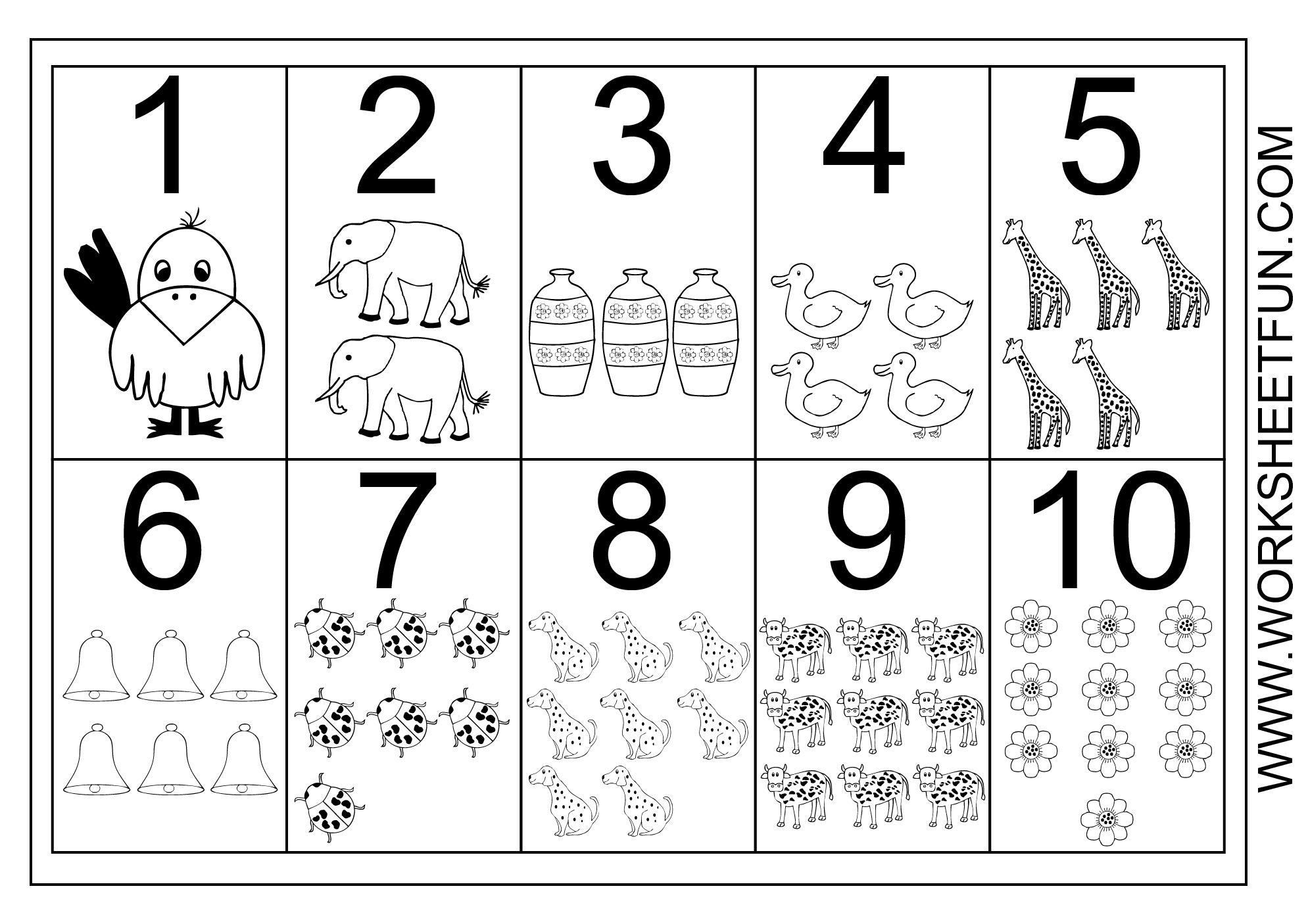 Prek Worksheets Numbers 1-10