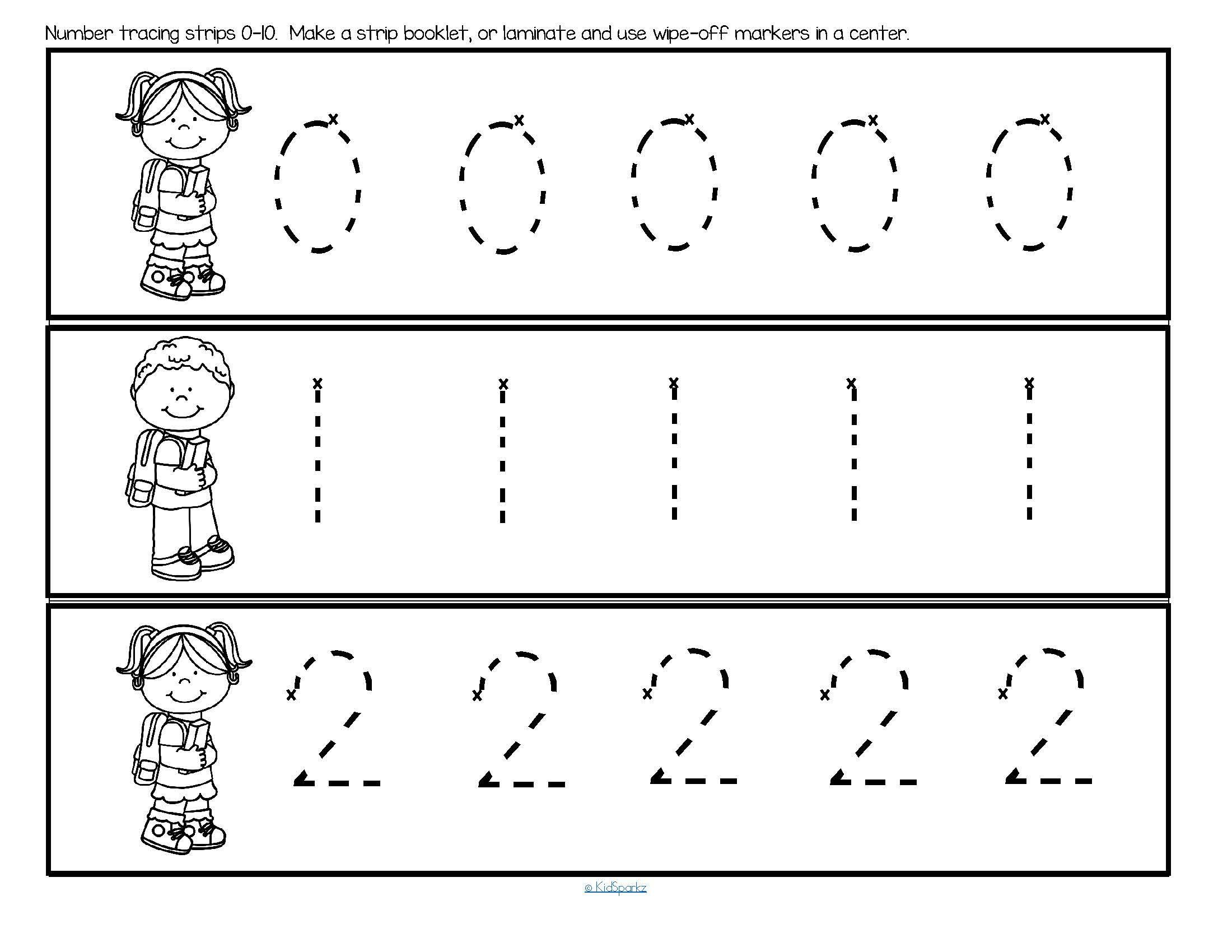 Preschool Number Tracing Worksheets