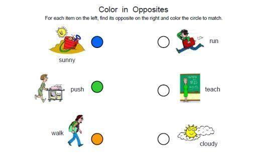 Preschool Opposites Worksheets For Kindergarten