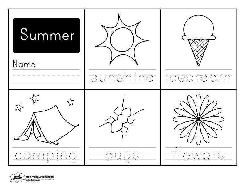 Preschool Summer Math Worksheets