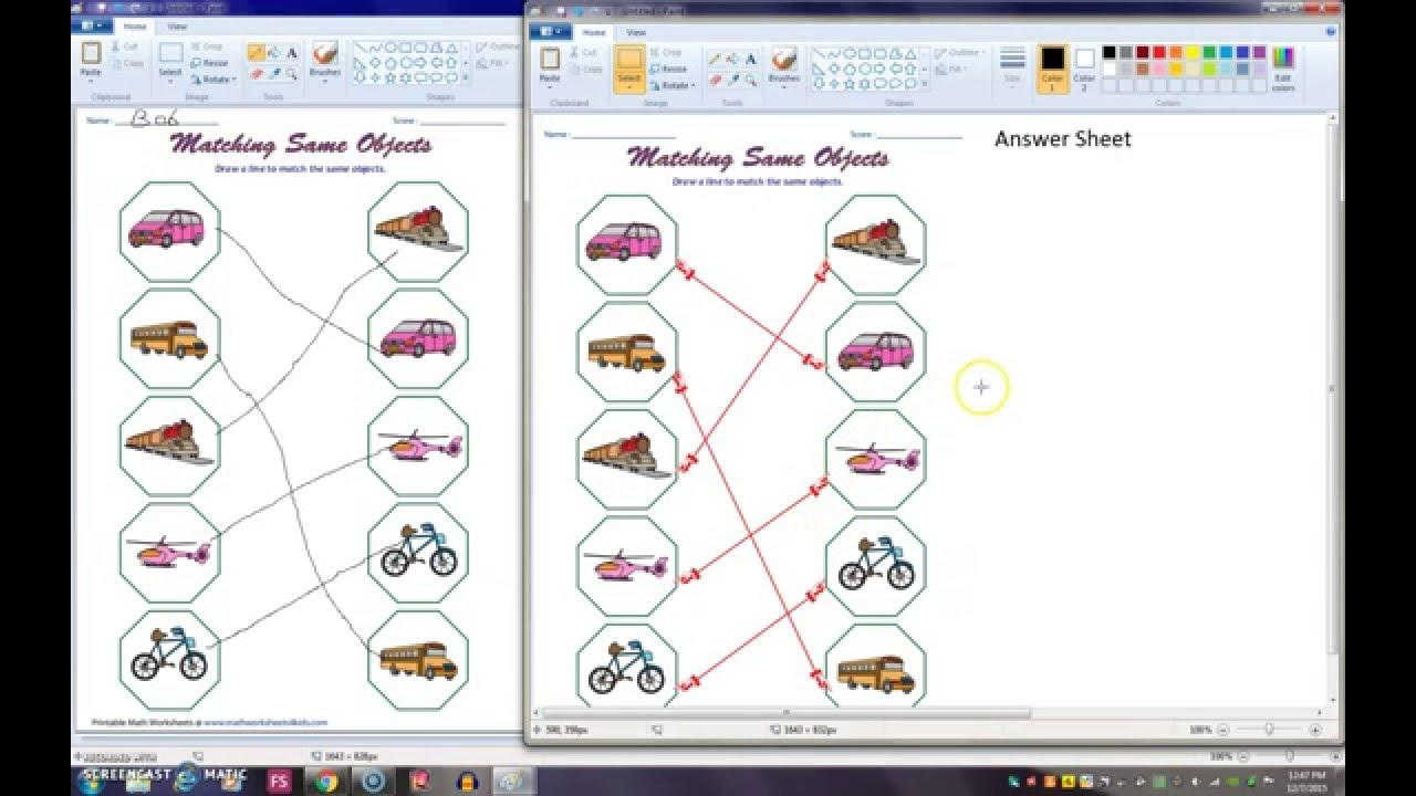 Preschool Worksheets Matching Objects 8