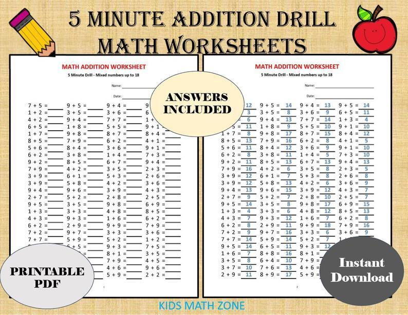 Math Worksheets Addition 5