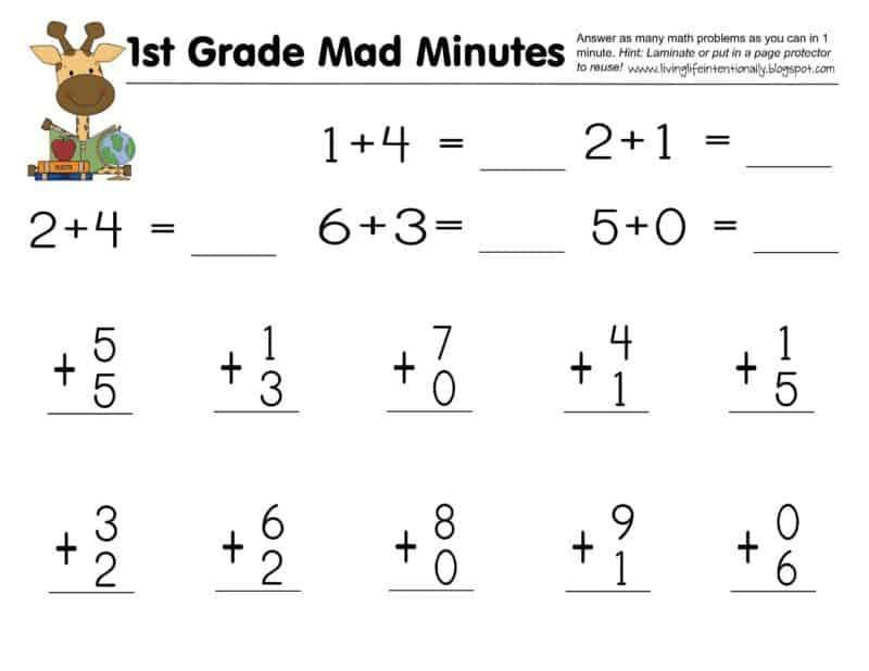 Math Worksheets Grade 1 2
