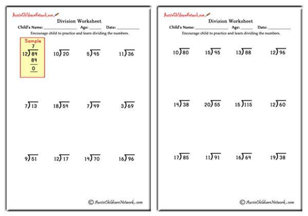 Math Worksheets Division And Multiplication 7