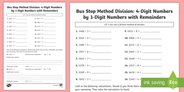 Math Worksheets Division With Remainders 8