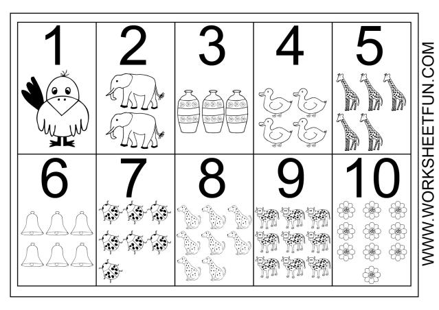 Math Worksheets Numbers 1-10