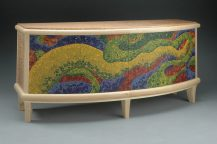 Bonnie Bishoff and JM Syron, Meander Cradenza, 2008. Japanese tamo, ash, marquetry veneer and polymer clay. Photo credit: Charley Freiburg.