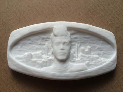 3D printed belt buckle model. Custom job for a friend. His face. Upper Manhattan. Yes--lightning. To become bronze.
