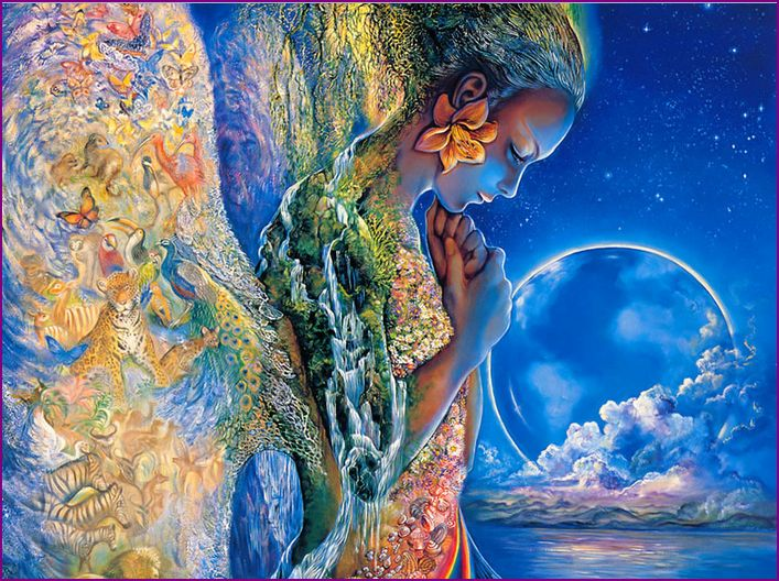 Woman representing Earth and entire Universe - art by Josephine Wall