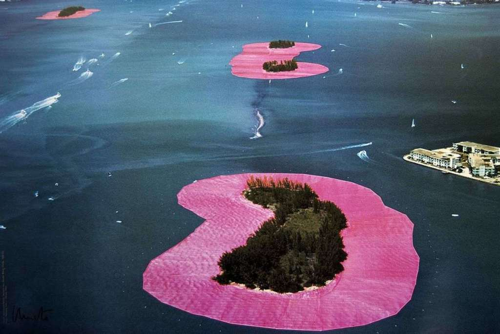Art on the water with pink covers by Christo and Jean-Claude in Sydney