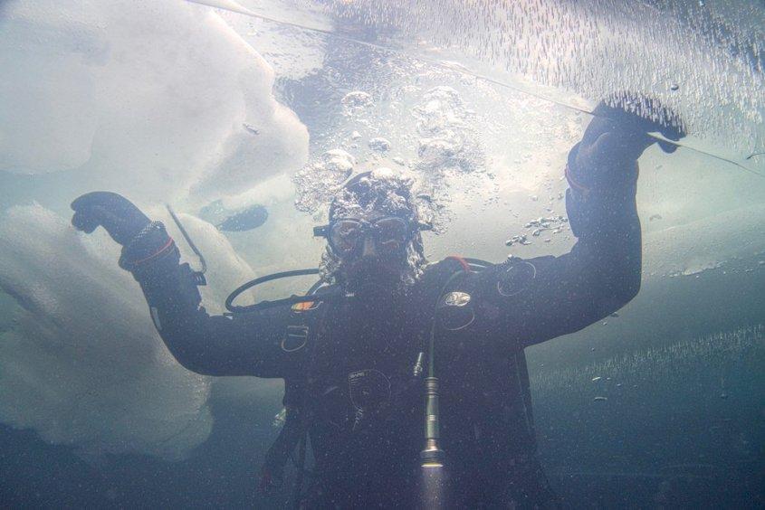 Un plongeur s'apprête à sortir de l'eau lors d'une plongée sous glace.