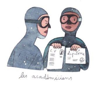 Illustration de Sara Quod représentant deux plongeurs de profil académiciens