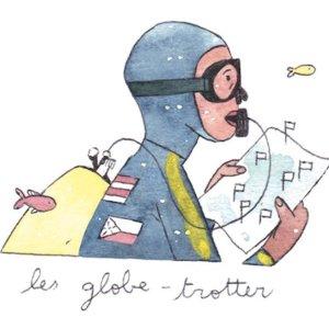 Illustration de Sara Quod représentant un plongeur de profil globe-trotteur