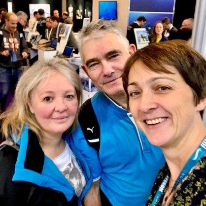 Hélène au Salon de la Plongée 2020 avec un couple de plongeurs belges