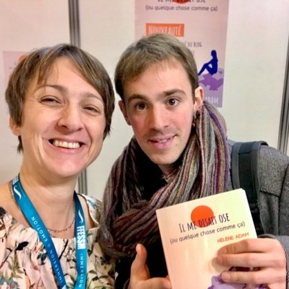 Hélène Adam avec Bill François gagnant du Grand Oral et auteur