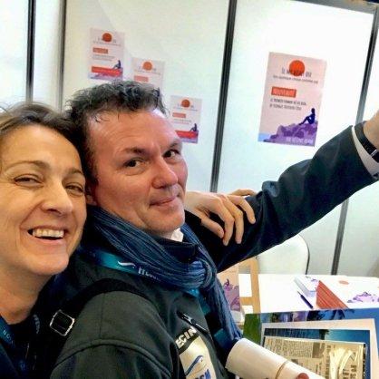 Hélène au Salon de la Plongée 2020 avec Carl Willem