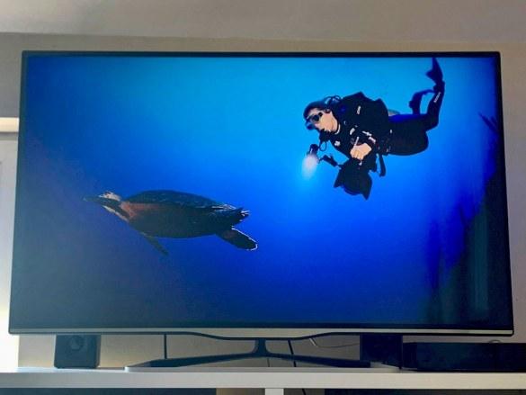 Une personne regarde un des films de plongée qu'elle a sélectionné.