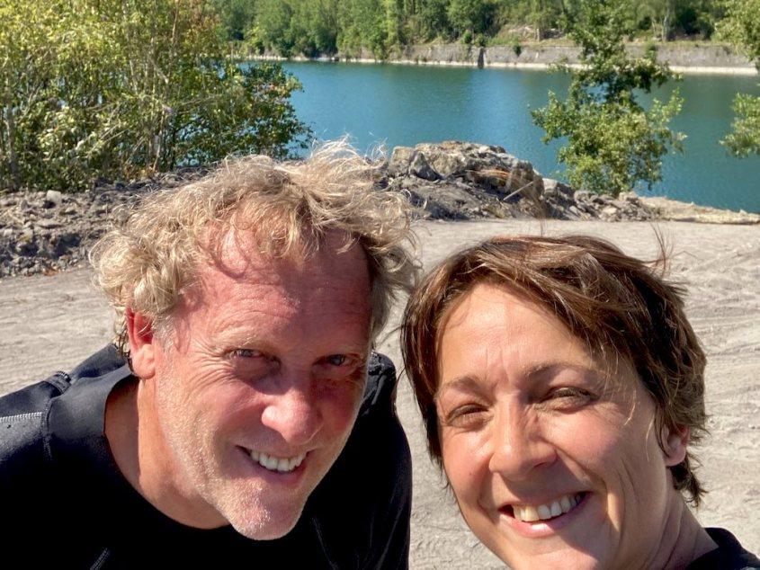 John et Hélène juste avant la plongée dans la carrière de Scoufflény.