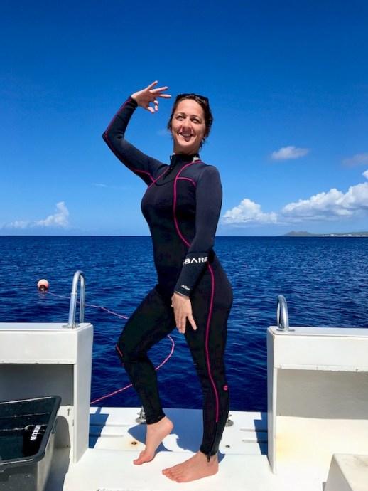 Hélène Adam sur un bateau de plongée à Bonaire