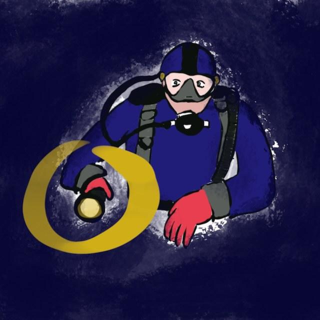 Dessin d'un plongeur effectuant le signe OK avec sa lampe