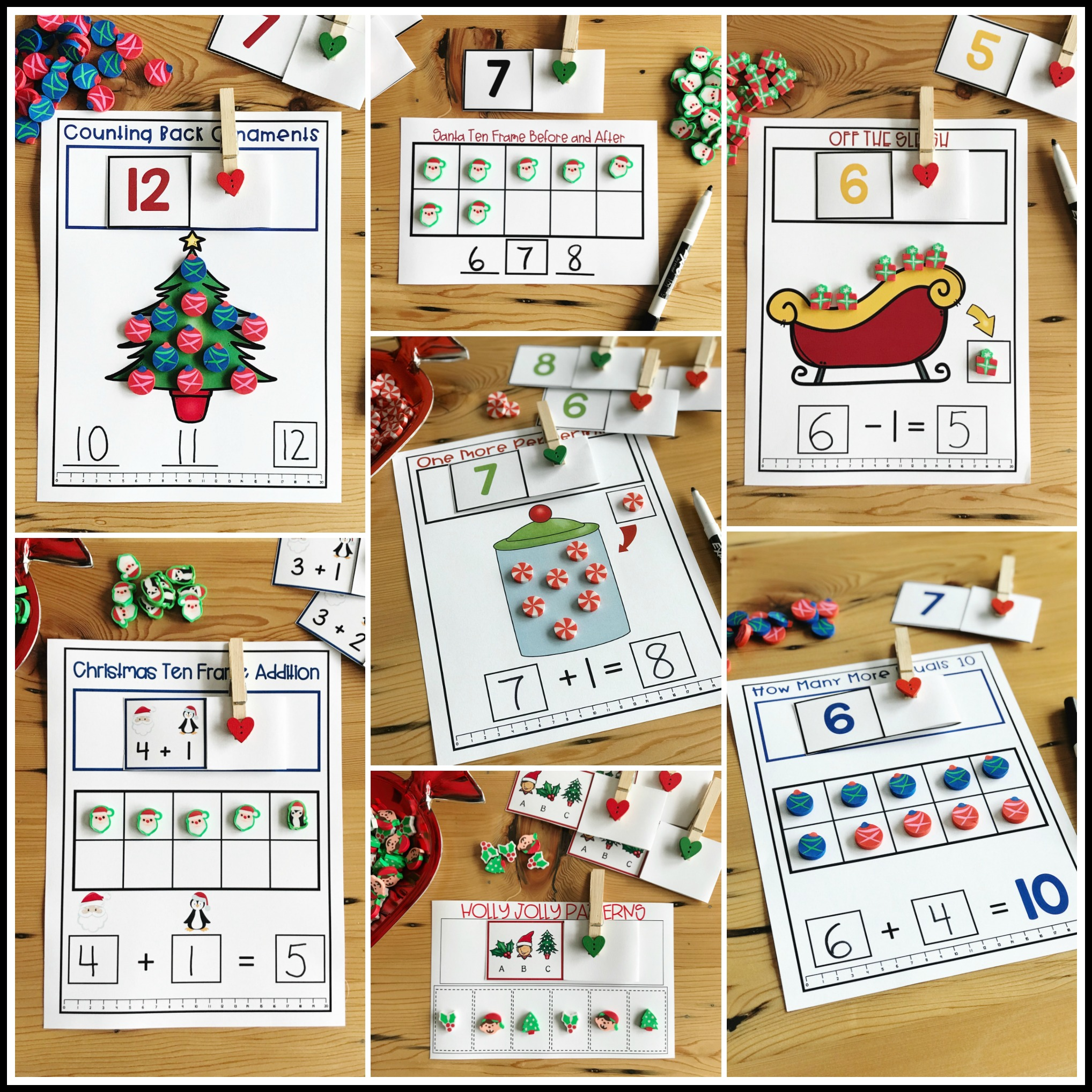 Christmas Mini Eraser Math Activities