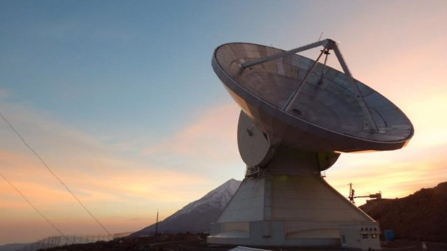 Telescope in Mexico at sunrise