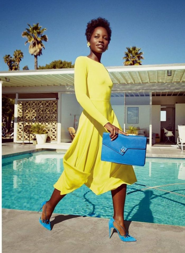 Lupita Nyong'o carrying an ela MILCK clutch in Lucky magazine editorial, March 2015. Photo: Patrick Demarchelier/Lucky