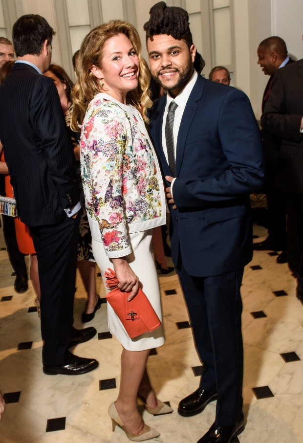 Sophie Grégoire-Trudeau [carrying an Ela Mini-MILCK clutch] with recording artist The Weeknd at the Smithsonian Institute in Washington, DC. March 9, 2016.