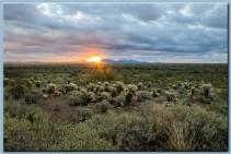 sunrise with sunburst in the desert