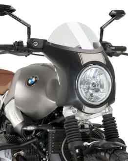 SEMICARENADO RETRO PUIG. CARCASA NEGRA, PANTALLA TRANSPARENTE – REF. 9253W. BMW NINE T SCRAMBLER (2016-2017).