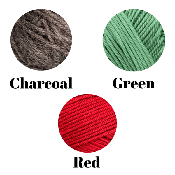 A white background with 3 circles showing the yarn colors with the text of each color - Charcoal, Green, Red
