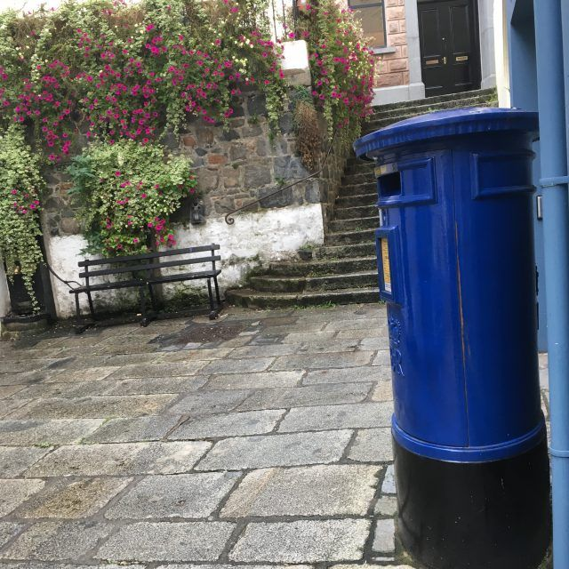 Guernsey has blue post boxes