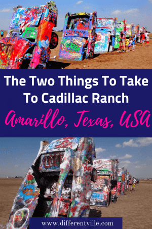 Cadillac Ranch near Amarillo Texas is one of the great Route 66 attractions. a line of spray painted cadillacs plunked tail down in the dirt it's Roadside America at it's finest - but there's two things you need to take with you if you go. Find out what here. #cadillacranch #amarillo #texas