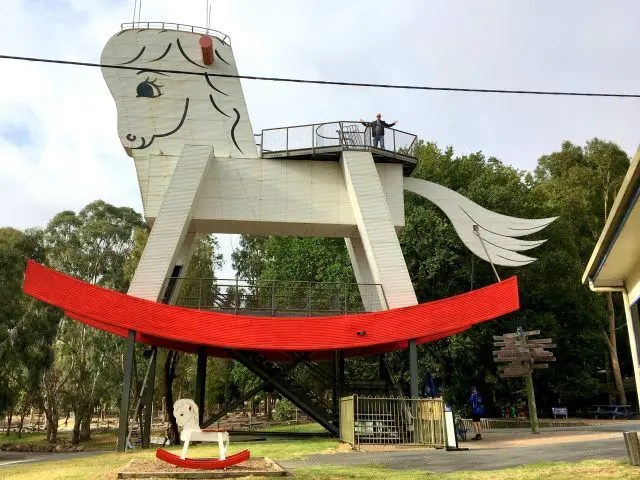 The Big Rocking Horse in Gumeracha near Adelaide is the biggest rocking horse in the world. And you can climb it.