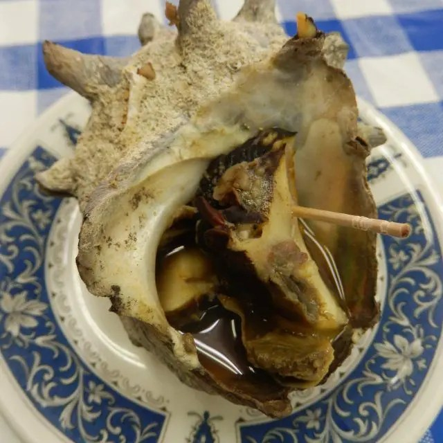 Snails are one of the things to eat at Tsukiji outer market