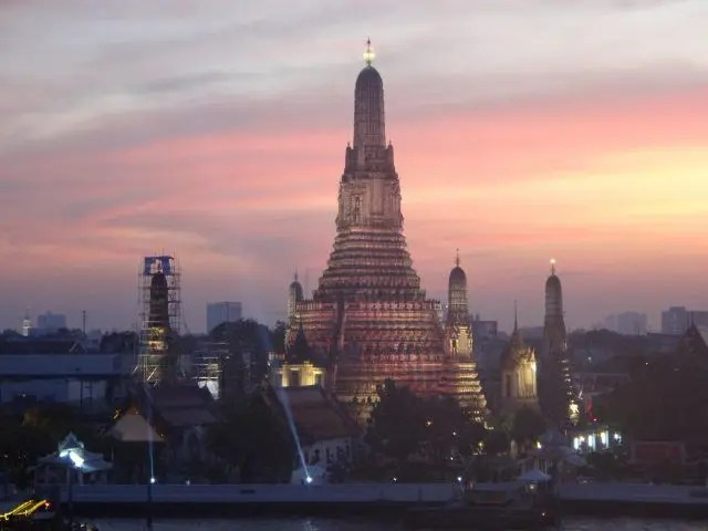 View from Sala Rattanakosin Rooftop Bar at sunset